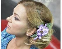 Flower Hair Clip, Flower Brooch, Flower Wedding Barret, Viola Flower Hair clip, Garden Pansy Flower, Garden Pansy Hair Clip, Wedding Flower