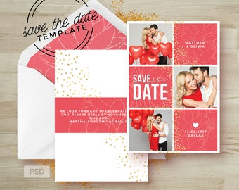 Save the Date Card Template - Wedding Announcement Template - Engagement Photoshop Template - Photography Marketing Template - Collage - PSD