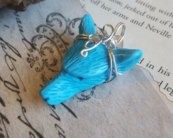 Wire Wrapped Blue Howlite Hand Carved Wolf Head Pendant