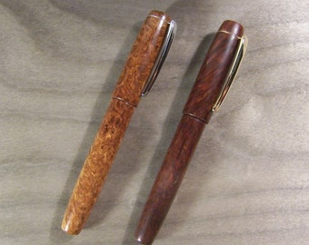 Fountain pen in wood, flat-top, polished burl with clip