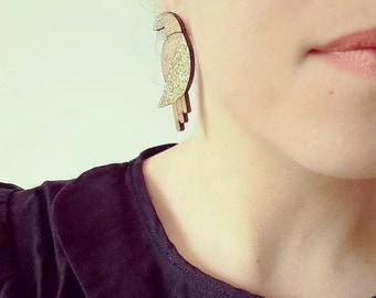 Wooden Parrot earrings gold