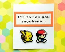 3D Pokemon Greeting Card - Pikachu & Ash Card, Geeky Anniversary, Valentine, Geek Greeting Cards, Mini Perler Beads, Mini Hama Beads