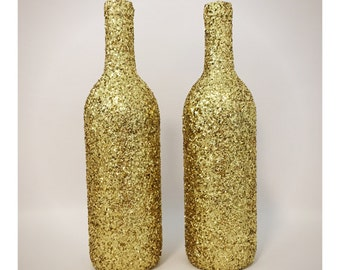 Set of two gold glitter wine bottles, wedding decor, home decor, party decor, gold decor, glitter decor, wine bottle decor, gift