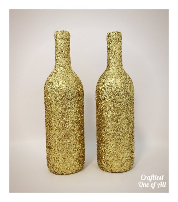 Items similar to set of two gold glitter wine bottles for Decorating wine bottles with glitter