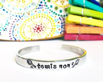 Tennis Mom Cuff Bracelet - Sports Jewelry - Tennis Mom Jewelry - Tennis Bracelet