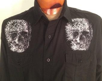 Skulls Skelton Men's Shirt By Maria B. Vintage Shirt & Skulls Fabric. Size Large.
