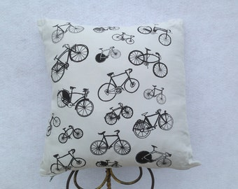 Grey Cotton Silk-screen Bicycle 2 Sided Pillow. Original Hand Drawn Hand Silk-screened Bike Images on Up-cycled Grey Cotton Bicycle Pillow