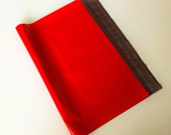 50 14.5x19 Poly Mailers RED Self Sealing Envelopes Shipping Bags Christmas Valentine's Day