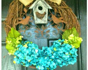 Spring Wreath, Hydrangea Wreaths, Spring Door Wreath, Summer Wreath, Wreath with birds