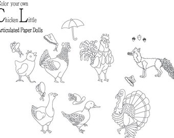 Chicken Little Color Your Own Articulated Paper Dolls