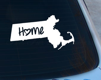 Massachusetts Decal - State Decal - Home Decal - MA Sticker - Love - Laptop - Macbook - Car Decal
