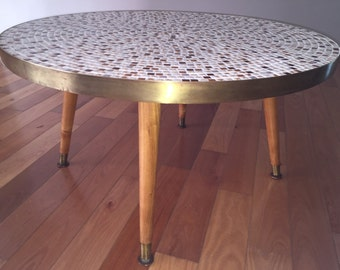 Vintage Mid Century Modern Ceramic Tile Mosaic Coffee Table