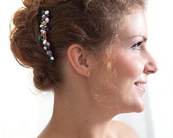 Bridal comb Moragane - comb bridal Peacock-jewellery of head-crystals of swarovski-comb retro-blue-green