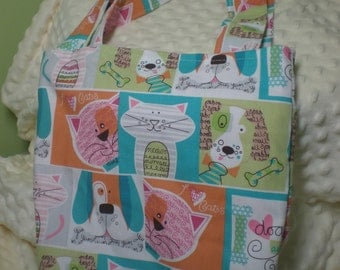 Adorable Cats & Dogs Tote with Minky lining NEW Homemade