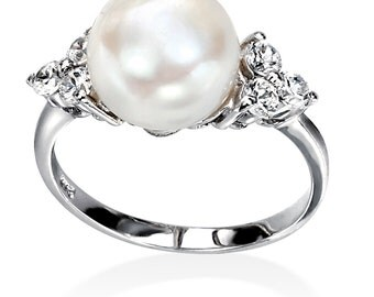 Silver and Pearl Ring, White Freshwater Pearl/Clear CZ Ring