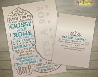 Country Theme Baby Shower Invitation - Printable