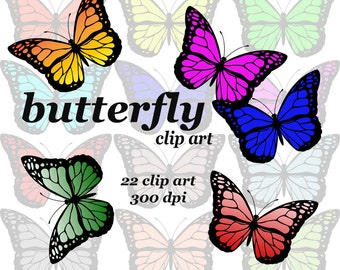 Butterfly clipart, Colorful Digital Clipart Instant Download moth Scrapbooking Elements for Personal and Commercial Use