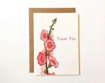 Customizable Thank You Card - Botanical Hollyhocks Thank Yous - Blank Thank Yous - Stationery for Her - Simple Thank You Note