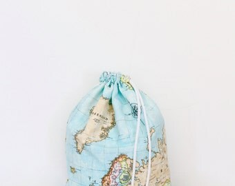 Maps of the world cotton print bag