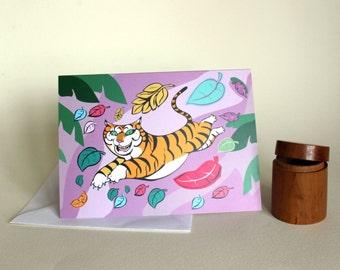 Tiger Pounce.Greetings card, Celebration.