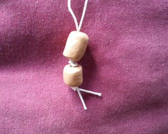 Essential Oil Pendant (Two vertical beads - white cord)