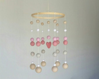 Baby Mobile : Modern Lullaby pink heart baby mobile