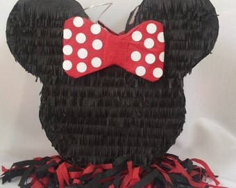 Mouse Ears Pinata with Red Bow Pull Strings Style