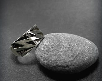"""Handmade sterling silver925 ring,with oxidation,band ring,minimal,ancient Greek,thunder- """"Zeus"""""""