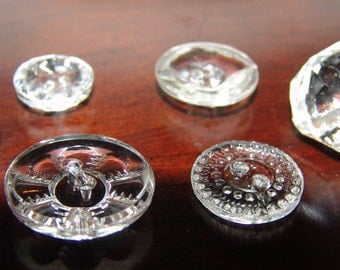 Lot of 6 Sparkling Antique Clear Glass Buttons ~ Clear Glass Buttons ~ Faceted ~ Gorgeous Lil' Gems ~