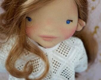 """Waldorfpuppe Rosmarie - 20 """"hand-felted wool sculpture, Steiner doll, doll - bio"""