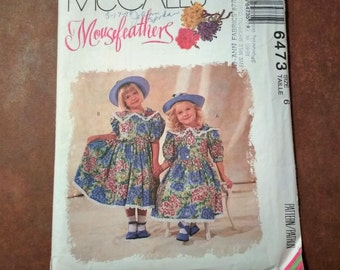 1993 McCall's 6473 MouseFeathers Girl Dress Pattern Size 6 Special Occasion Dress / Sunday Dress / Flower Girl Dress / Uncut Pattern
