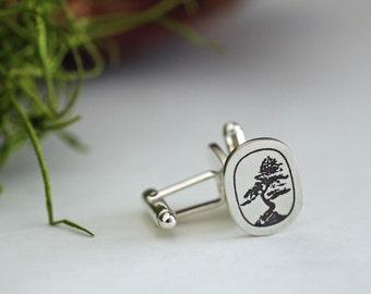 Silver bonsai cuff links