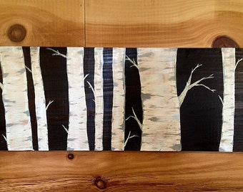 Birch Tree Forest - Stained & Painted Wall Art
