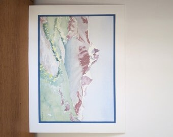 Watercolor painting of a moutain landscape