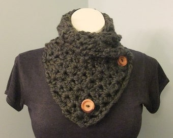 Wool Button Neck Warmer // Wool Button Cowl // Wool Button Scarf // Undercoat Scarf // Gifts for Her // Gifts for Him // Fall Fashion