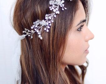 The Ashton - Silver Twined Pearl Crystal Encrusted Bridal Veil Headband Wreath White Ribbon Crown Wedding Bride Crystals Boho gilded leaf