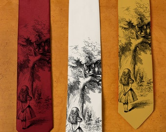 Cheshire Cat Tie - Alice in Wonderland Necktie - Men's Gift - Lewis Carroll - John Tenniel - Men's Necktie - Psychedelic Clothing