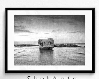 black and white beach prints, beach photos, Beach photograph, Black and white photo, Black and white decal , beach photo, home decor, Libya