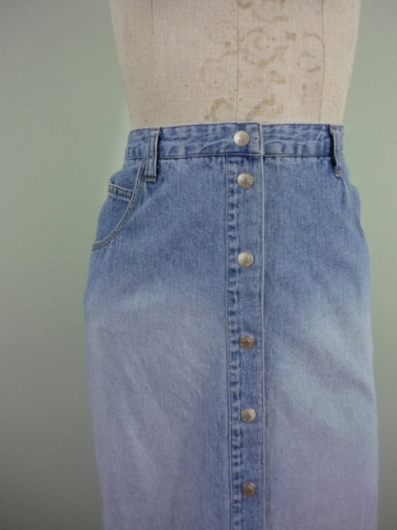 1990s Faded Denim Maxi  / High Waisted Snap Front Jean Skirt / Vintage Express / Modern Size Medium M to Large L, 8 or 10