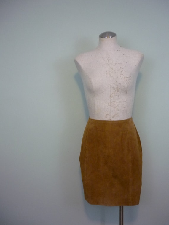 Boho Fawn Suede Miniskirt / 1980s Tan, High Waisted, A-line Mini / 80s Leather Skirt / Modern Size Medium M to Large L