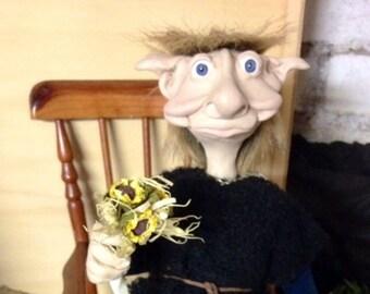 GARETH OOAK DOLL, elf, pixie, trolls, duendes, handmade, luck, Elf, Goblin, Fimo
