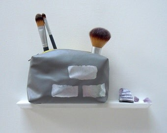 Grey Makeup Bag, Silver Foiled Faux Leather, Printed and Sewn by Hand