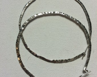 Reversible Silver Patterned Hoops