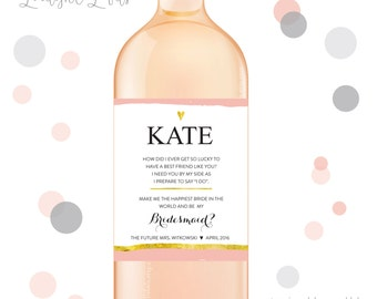 Will you be my bridesmaid wine labels, bridesmaid wine labels, thank you bridesmaid labels, bridesmaid gift - style 209 LIMELIGHT LABELS