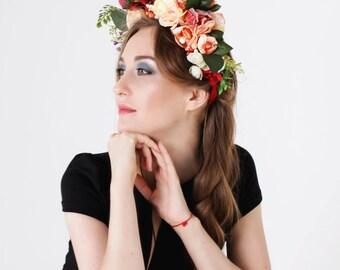 Rose Flower Headdress, Flower Crown, Flower Headpiece, Head wreath, Hair Accessories, Wedding Headband, Floral Circlet, Ethnic wreath