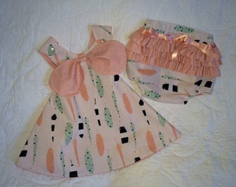 Girls Cross Back Pinafore Dress and Ruffled Bloomers / Size 2-3