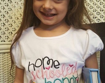 Home Schooled Honey embroidered shirt, homeschool shirt, girls homeschool shirt, homeshooling, girls