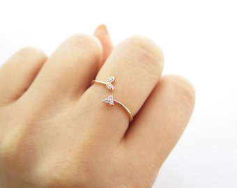 silver ring / Sterling silver arrow open ring / Adjustable sterling silver ring / 925 sterling silver ring / Arrow Ring /Rosegold Ring