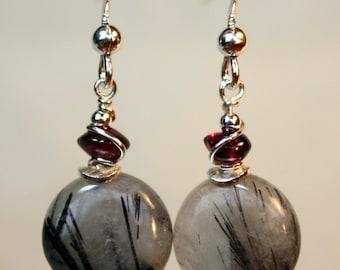 Rutilated Quartz and Garnet Earrings