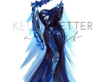 INSTANT DOWNLOAD Fashion Illustration- Petal Gown